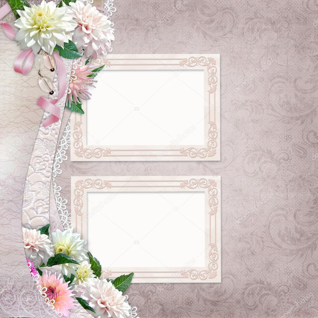Beautiful border of flowers lace and frames on vintage background beautiful border of flowers lace and frames on vintage background photo by glaz izmirmasajfo
