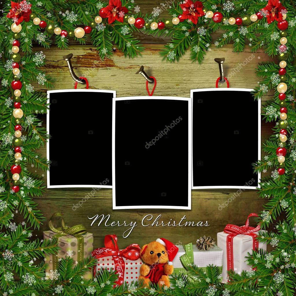 Weihnachts-Grußkarte mit Frames, Geschenke, Kiefer Niederlassungen ...