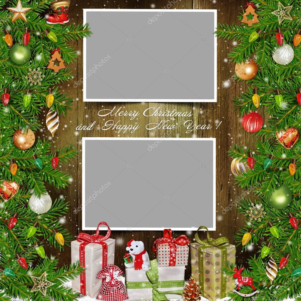 Fondo de navidad con marcos de fotos pino fuerte regalos - Imagenes decoracion navidad ...