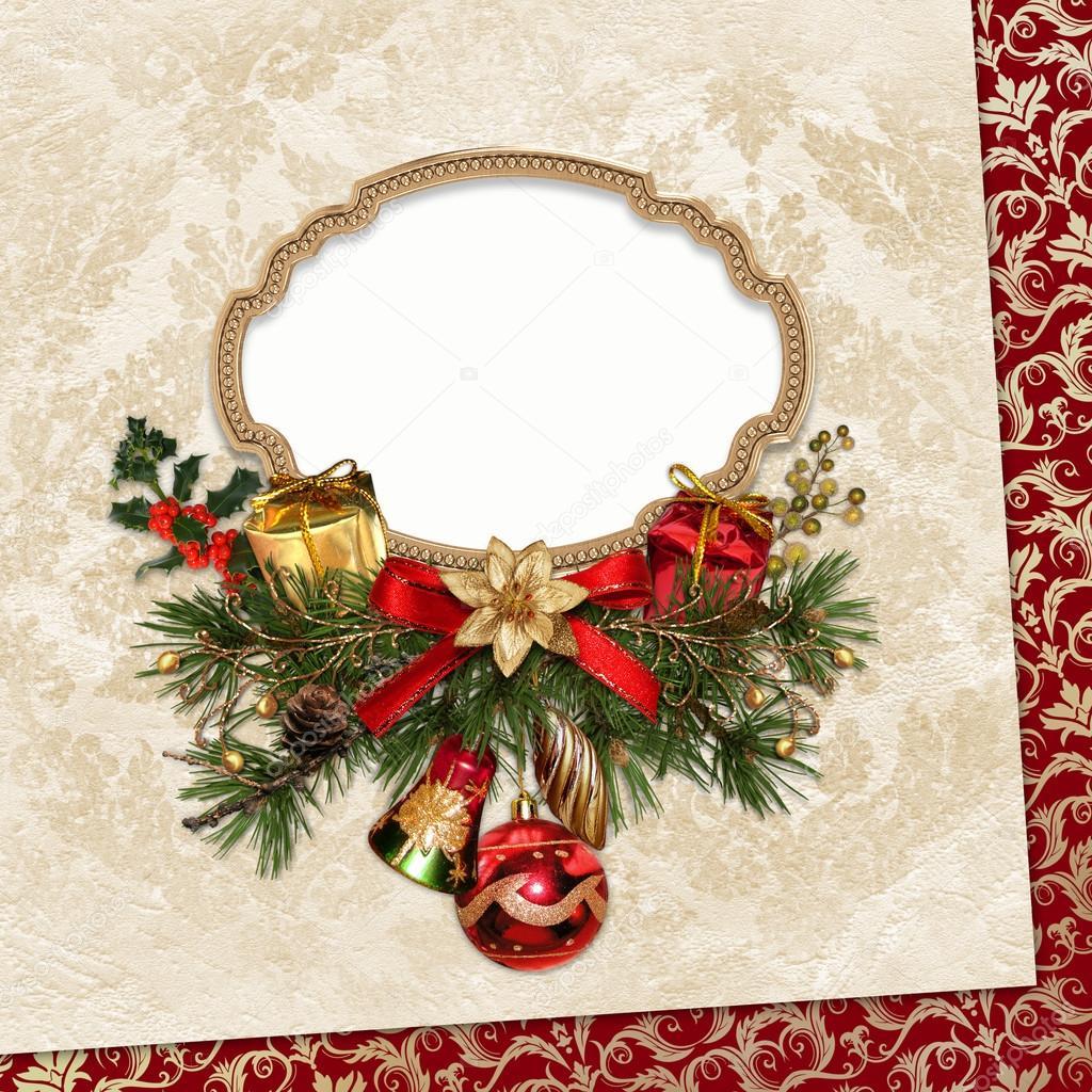 Vintage tarjeta de Navidad con marco, ramas de pino y decoraciones ...