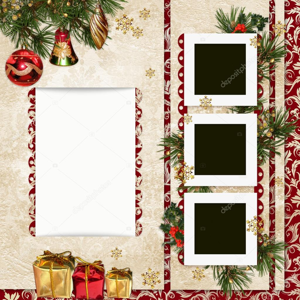 Vintage christmas background with frame gifts pine branches and christmas decorations stock - Decor gratis foto ...