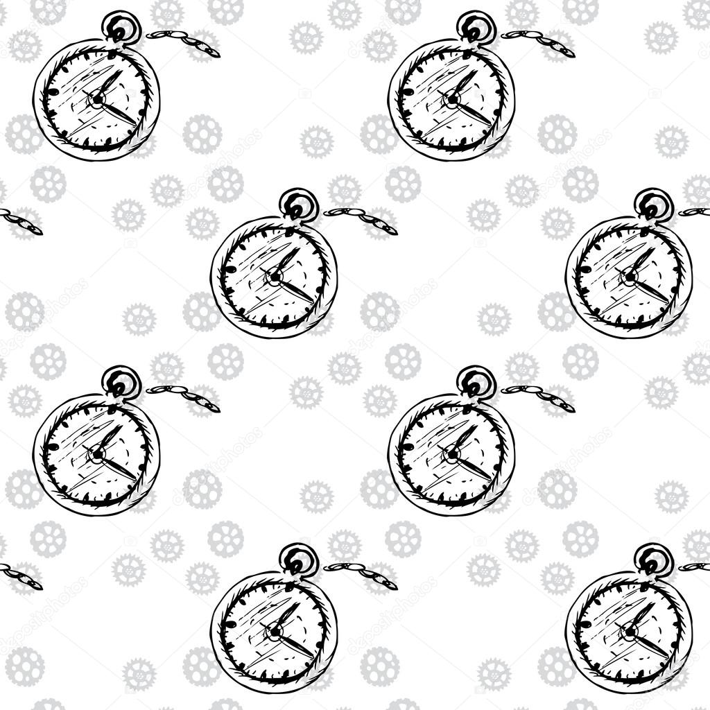 Clocks Seamless pattern with pocket watches and gears