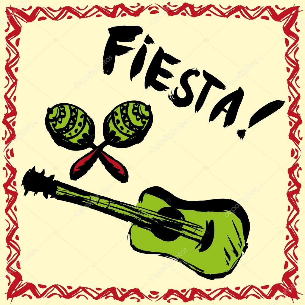 Mexican Fiesta Party Invitation with maracas, sombrero and guita ...