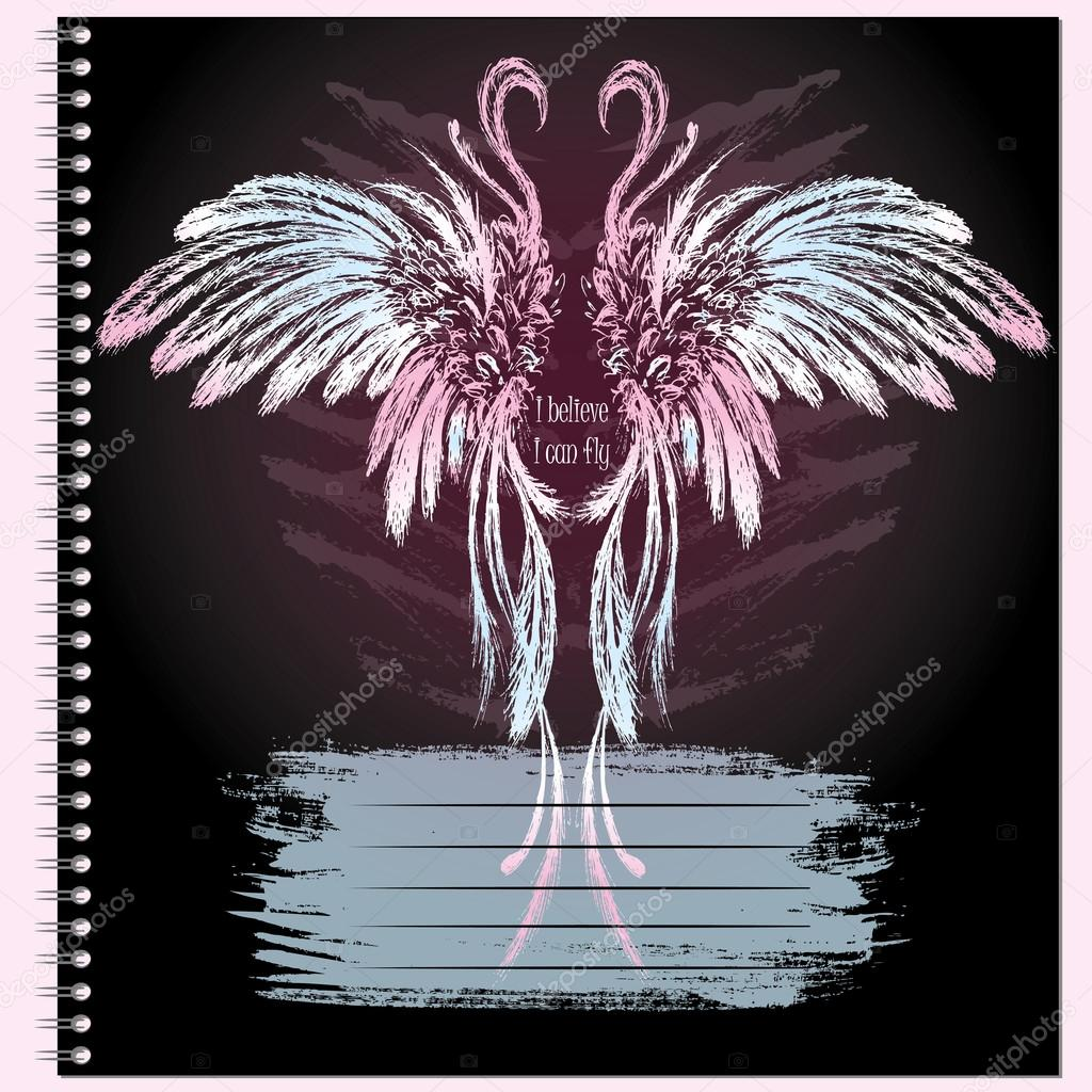 Cover for notebook with wings