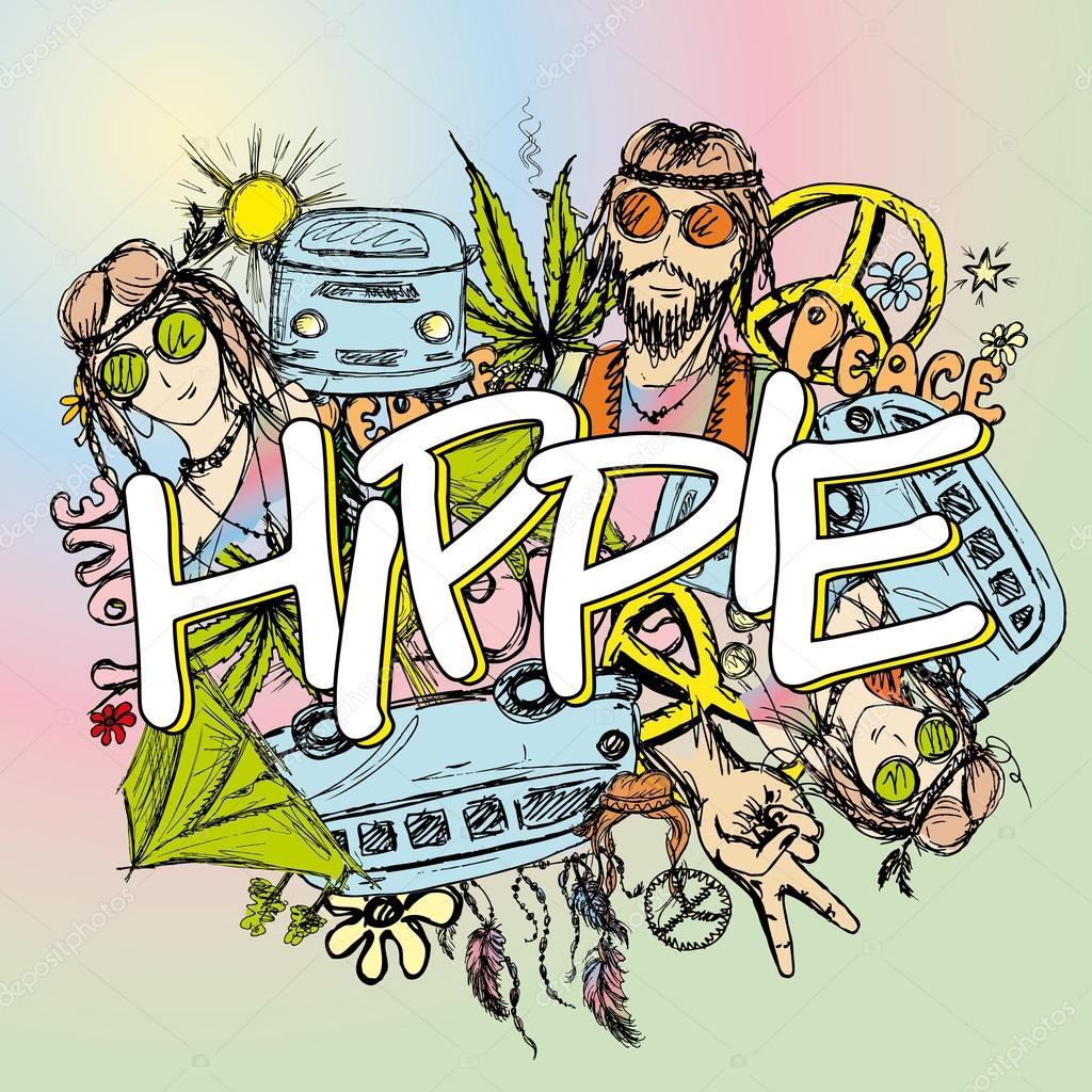 Hippie background hand drawn stock vector naum100 112455560 hippie background hand drawn stock vector voltagebd Choice Image