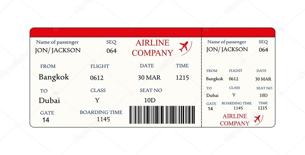 Airline Boarding Pass Ticket With Qr2 Code Stock Vector C Naum100