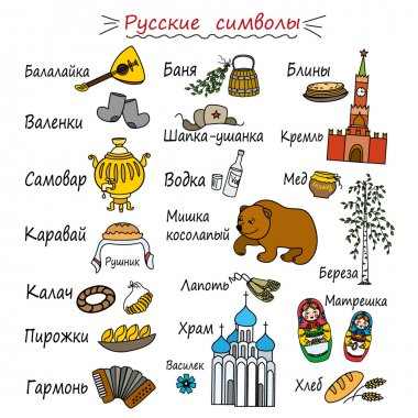 Different Characters Russian, with captions in Russian