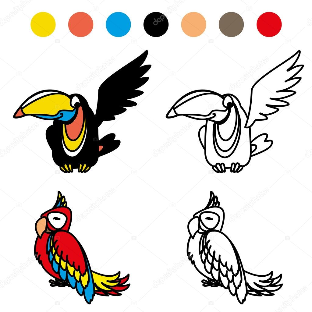 Coloring Picture Of Funny Parrot Stock Vector C Naum100 120073636