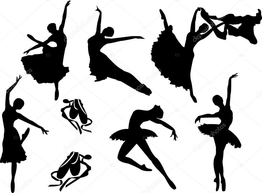 Vector Conjunto De Siluetas De Bailarinas De Ballet