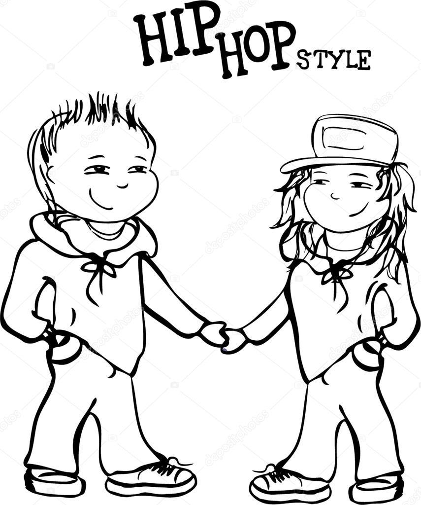 Hip-hop niño y una niña cogidos de la mano, ilustración vectorial ...