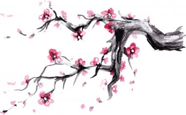 Watercolor Spring blossoms background - japanese symbol