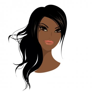 Pretty young african american woman, Vector illustration.
