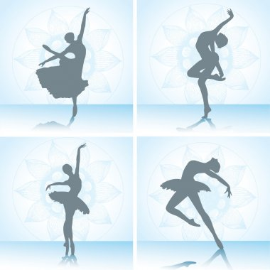 Set of ballet dancers silhouettes. Vector illustration.