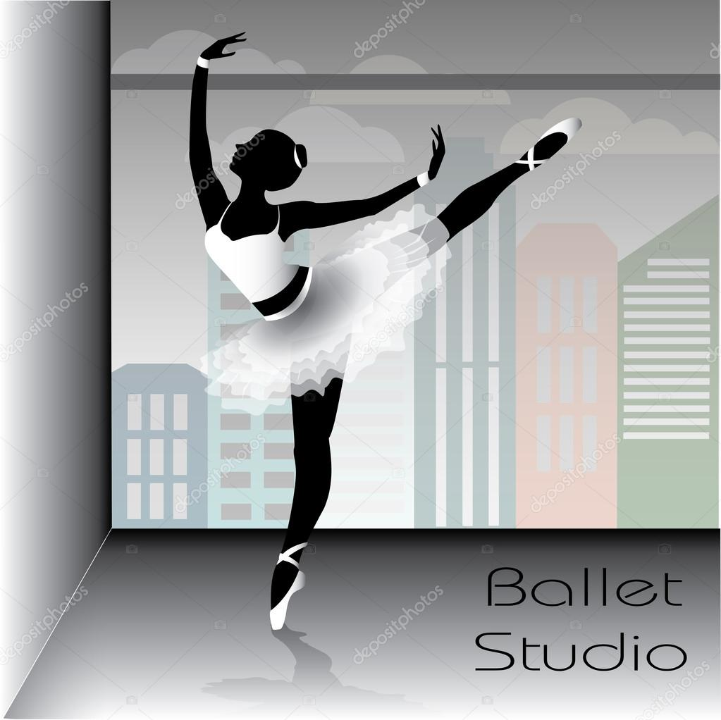 Ballet dancer silhouette, vector illustration.