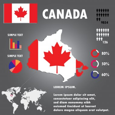 Canada Country Infographics Template Vector.