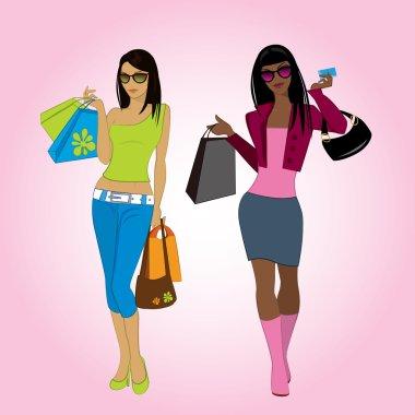 Two shopping girls, vector illustration.