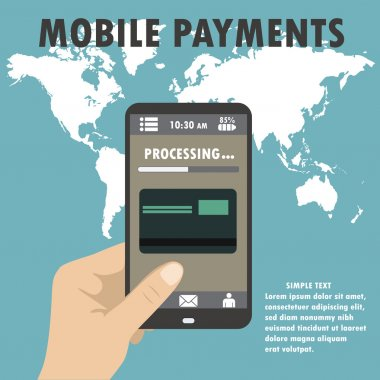 Smartphone with processing of mobile payments from credit card o