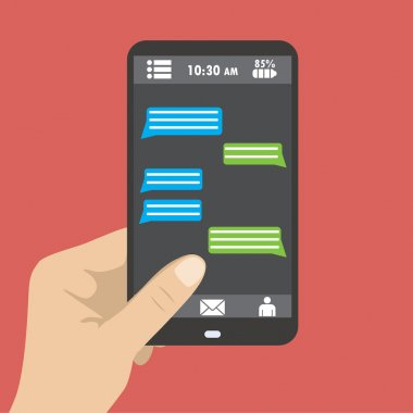 Hand holding black smartphone with blank speech bubbles for text