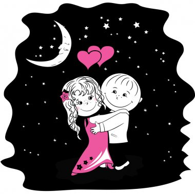 couple in love dancing at night