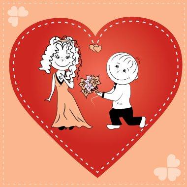 loving couple in heart