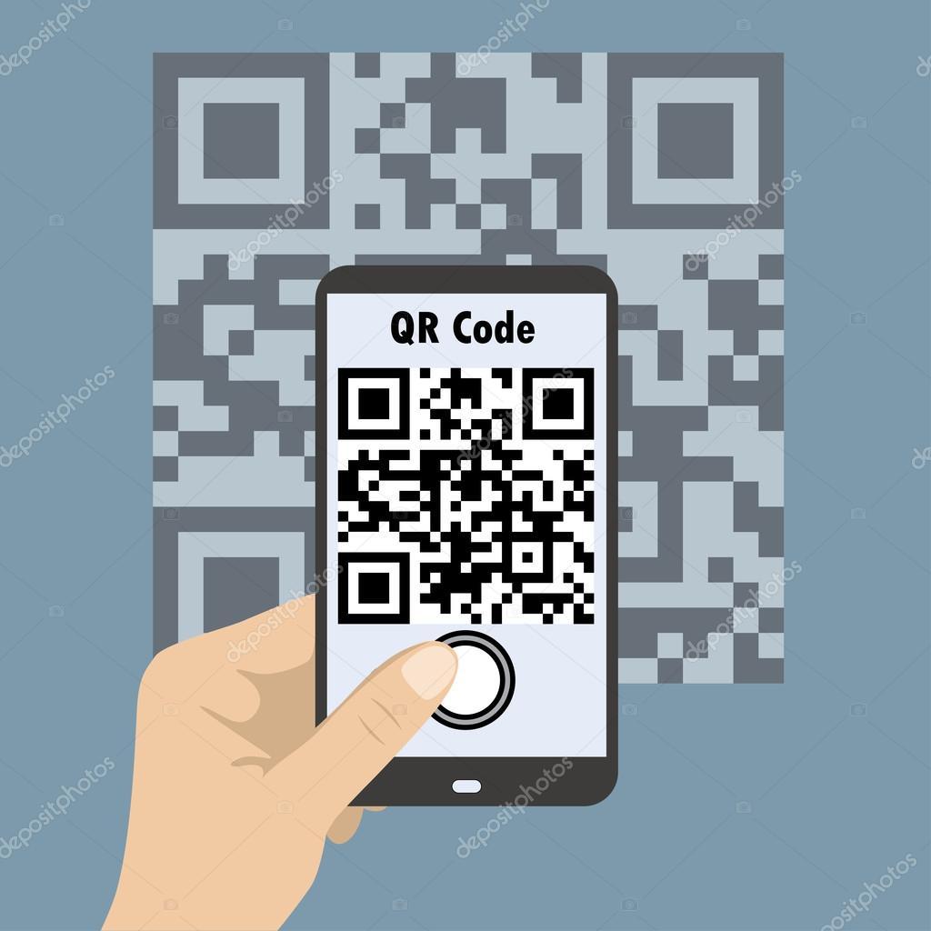 b0a6aea637a Mano sosteniendo móvil, concepto de Smartphone con una lectura de códigos qr.  — Vector de naum100