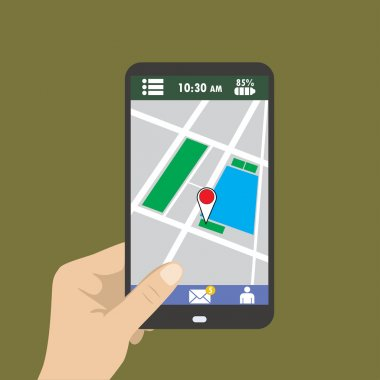 Hand holding smart phone, gps map on mobile