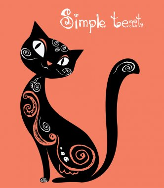 Cat with vintage ornament, silhouette