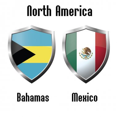 Bahamas and Mexico flag icons theme