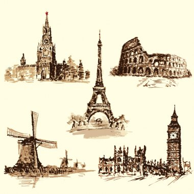 set attractions, the Kremlin, the Eiffel Tower, the Colosseum, t