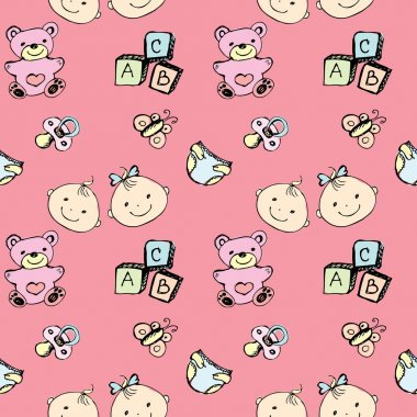 Seamless pattern of a newborn baby and children's items