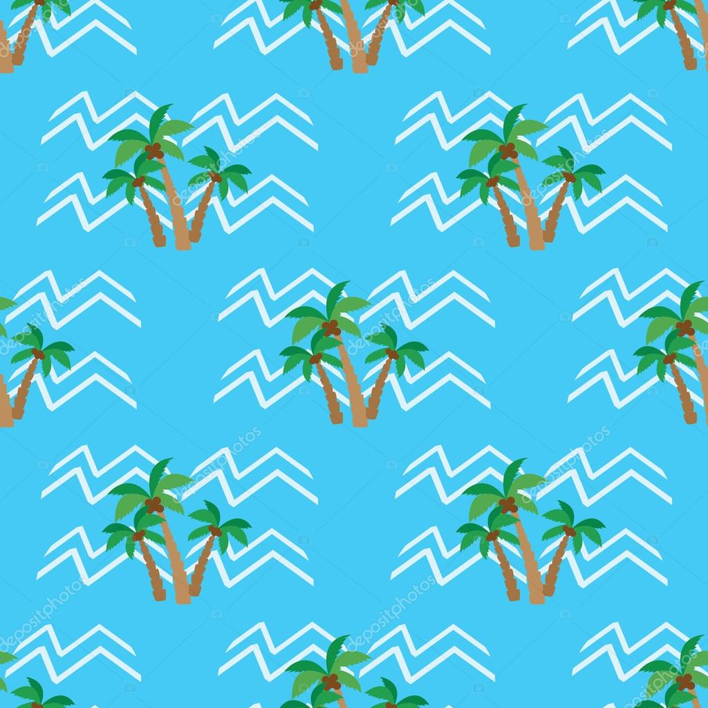 Seamless pattern  tropical coconut palm trees and waves
