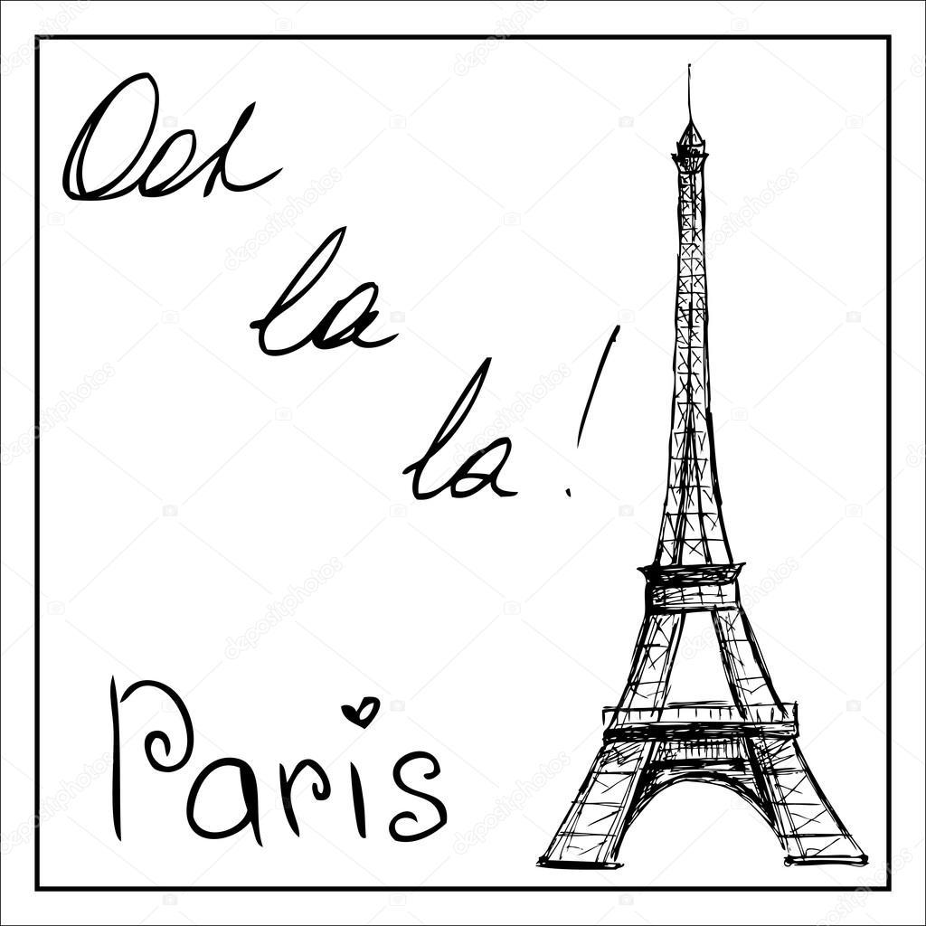 Eiffeltoren Parijs Kleurplaat Eiffeltoren Het Woord Parijs Op Een Witte Achtergrond