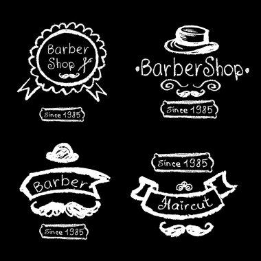 Set of vintage barber shop logo, labels, prints,