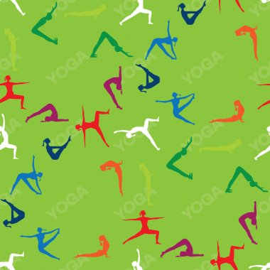 Seamless pattern Yoga poses icons