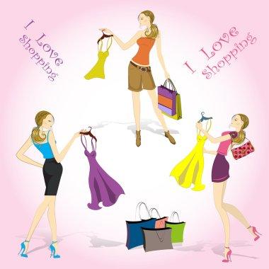 Pretty shopping girls