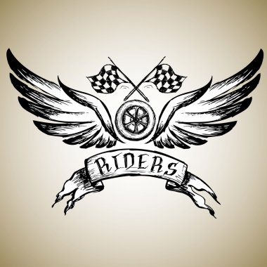 biker tattoo or emblem , hand drawn design elements.