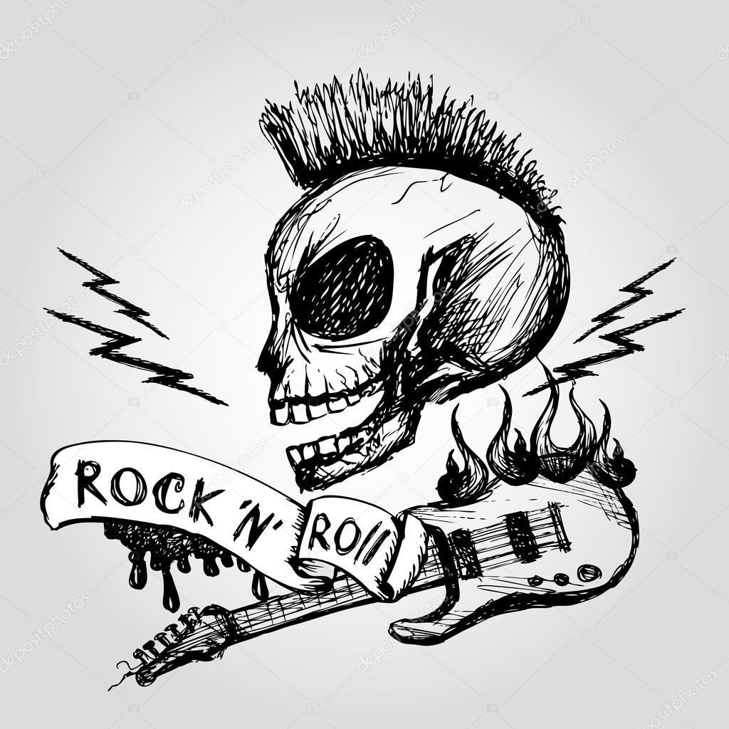 Imágenes Rock Guitarra Del Cráneo De Rock And Roll