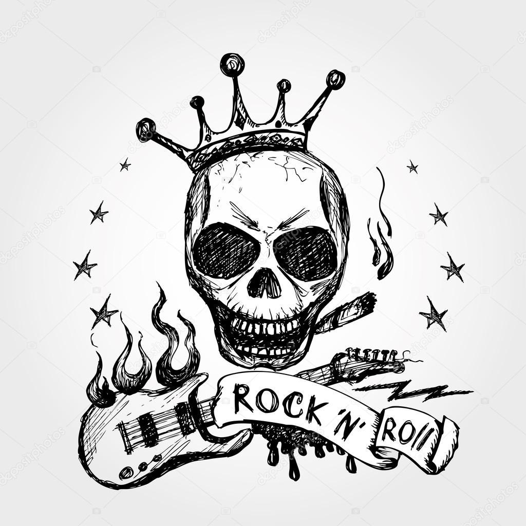 Dibujos Rock And Roll Guitarra Del Cráneo De Rock And