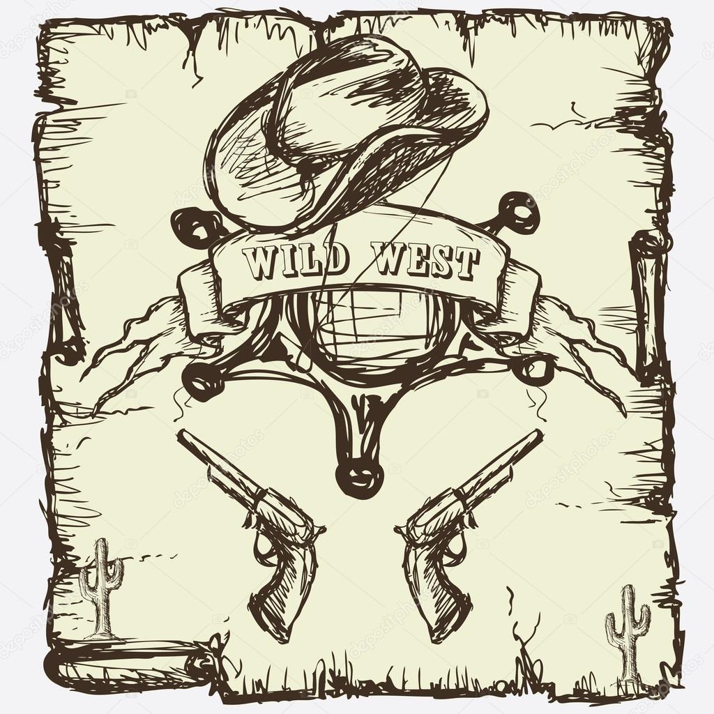 estrella de sheriff, botas vaqueras y revólveres — Vector de stock ...