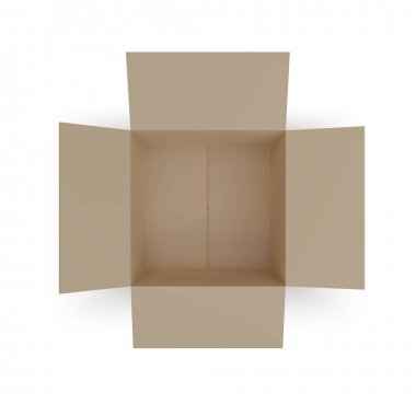 Open isometric box top view. paper parcel. Realistic carton. Vector illustration icon