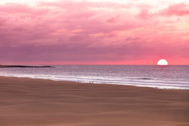 Sunset and sand dunes at beach, Boavista - Cape Verde