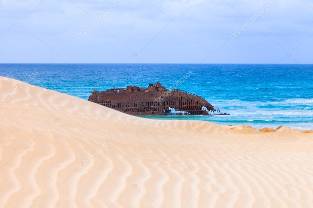 Wreck boat on the coast of boa vista in Cape Verde
