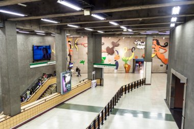 SANTIAGO, CHILE - FEB 28, 2015: View of a metro station in Santiago de Chile