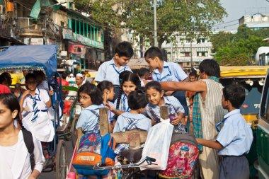 Unidentified children on their way to a school