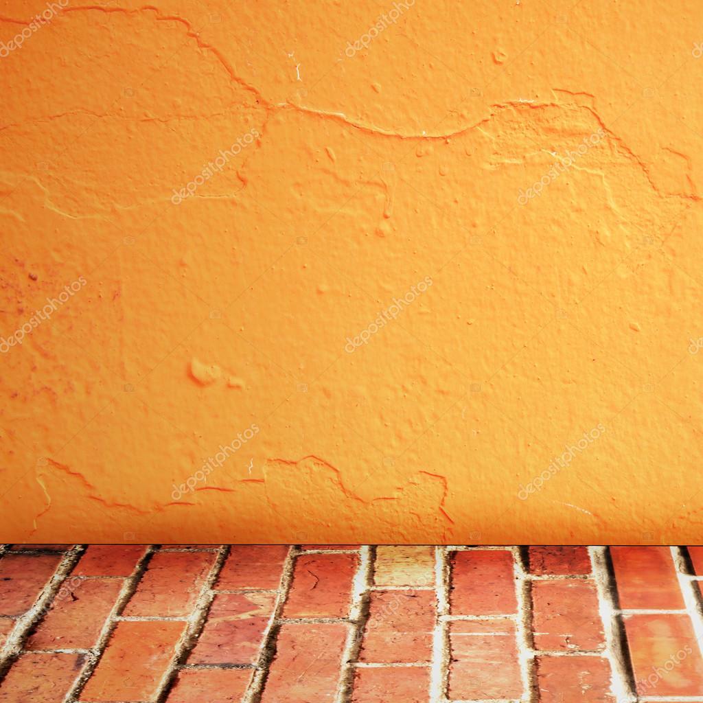 Zimmer Innen Jahrgang Mit Ziegel Wand Und Zement Orange Boden Hintergrund U2014  Stockfoto