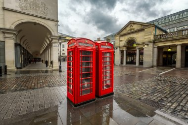 Red Telephone Box at Covent Garden Market on Rainy Day, London,