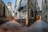 Fotografie Barri Gothic Quarter and Bridge of Sighs in Barcelona, Catalonia