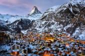 Fotografie Aerial View on Zermatt Valley and Matterhorn Peak in the Morning