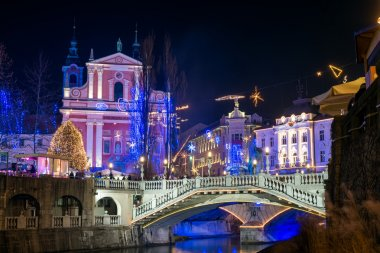 Decorated Ljubljana for New Years holidays, panorama