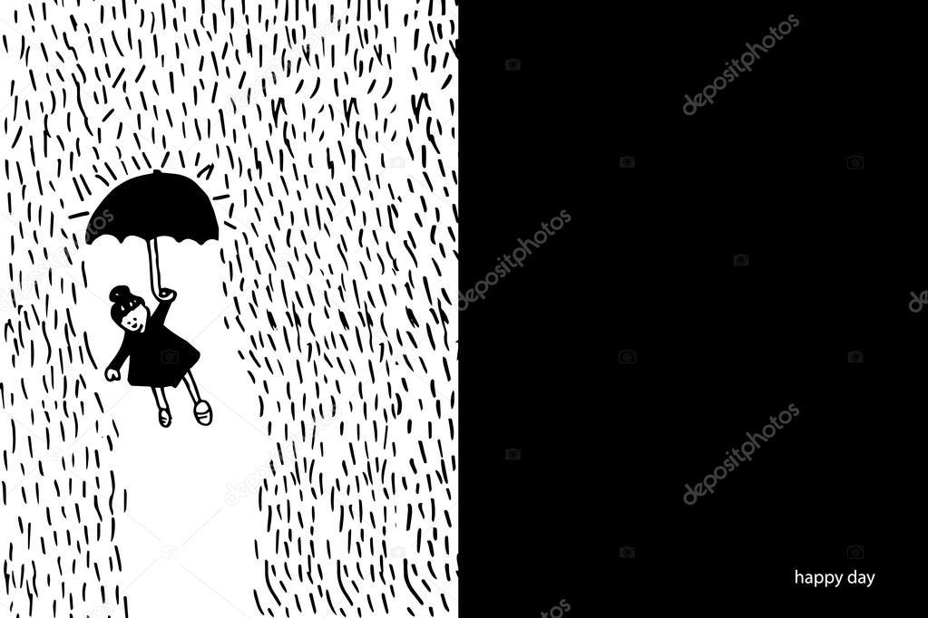 Kleines Mädchen Mit Schirm Im Regen Das Symbol Für Den Erfolg